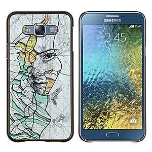 KLONGSHOP // Cubierta de piel con cierre a presión Shell trasero duro de goma Protección Caso - Rústico profundo del trullo Significado Sad - Samsung Galaxy E7 E700 //