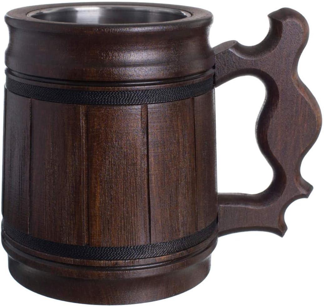 Handmade Beer Mug Oak Wood Stainless Steel Cup Box Natural 0.3L 10oz Classic Brown