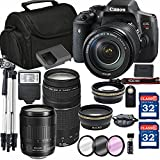 Canon EOS Rebel T6i Digital SLR Camera + 18-135mm USM + Canon 75-300mm III Lens + SD Card Reader + 64GB Memory + Remote + Accessory Bundle - International Version