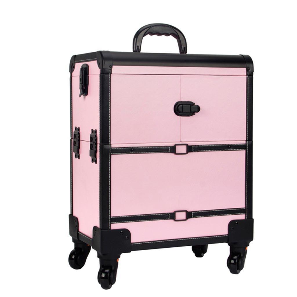 ALUP- メークアップトロリーケース、ローリングメイクアップトラベルケース、ビューティーメークアップバッグ、化粧用オーガナイザー (色 : ピンク) B07KB2XJY1 ピンク