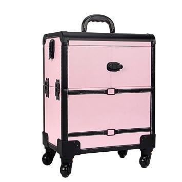 Ali@ Maletín de maquillaje, 2 en 1 Maletín de viaje de maquillaje, Maquillaje de belleza, Organizador de cosméticos sobre ruedas (color : Pink): Amazon.es: ...