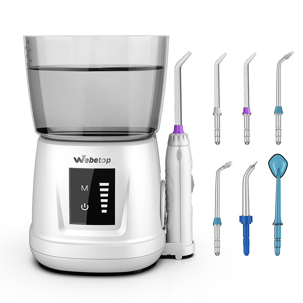 Webetop Oral Irrigator Dental Water Flosser 1000ml Capacity with Massage Function Touch Start Pressure Memeory and 6 Nozzles for Teeth Cleaning