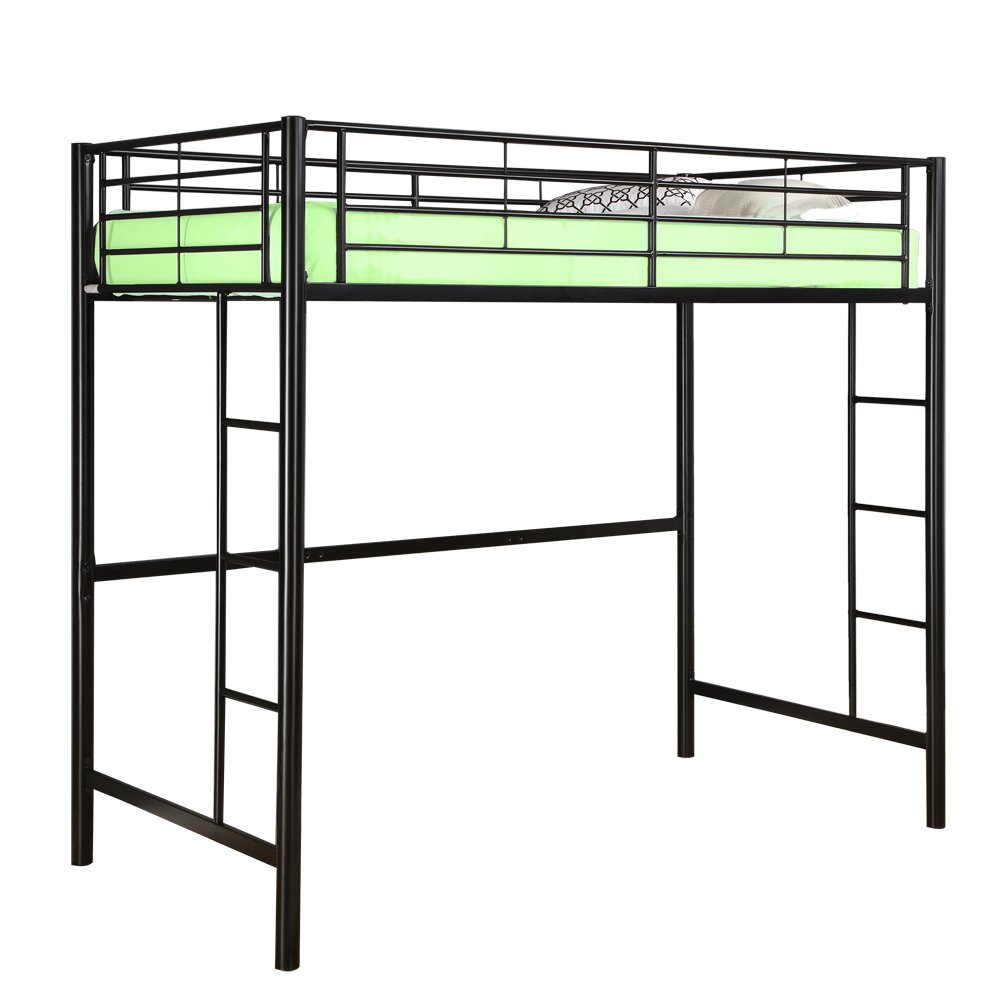 Amazon New Twin Over Loft Metal Bunk Bed With Ladder Black Powder Coated Finish Kitchen Dining
