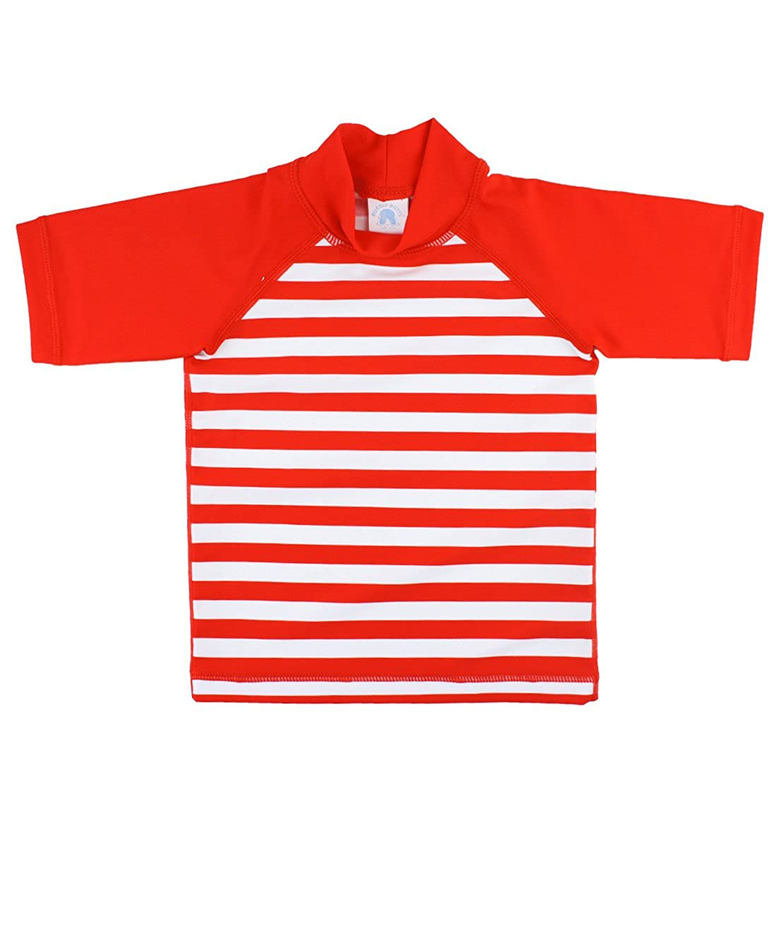 RuggedButts Baby/Toddler Boys Short Sleeve Striped Rash Guard Top with UPF 50+ Sun Protection RGSYYXX-STRP-SC-BABY