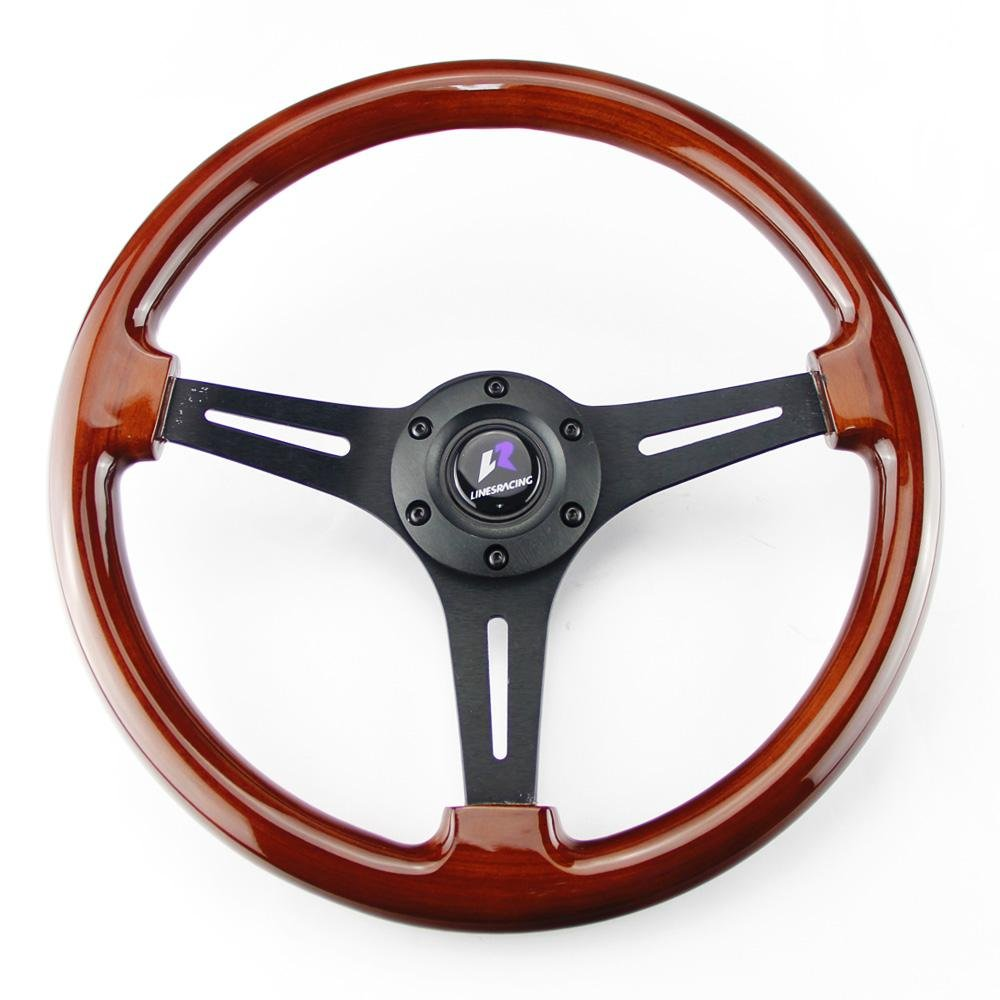 LR Universal 14' steering wheel with horn, 6 bolts 3' Dish, Brushed Anodized Matte Black Spoke (White) 6 bolts 3 Dish LinesRacing