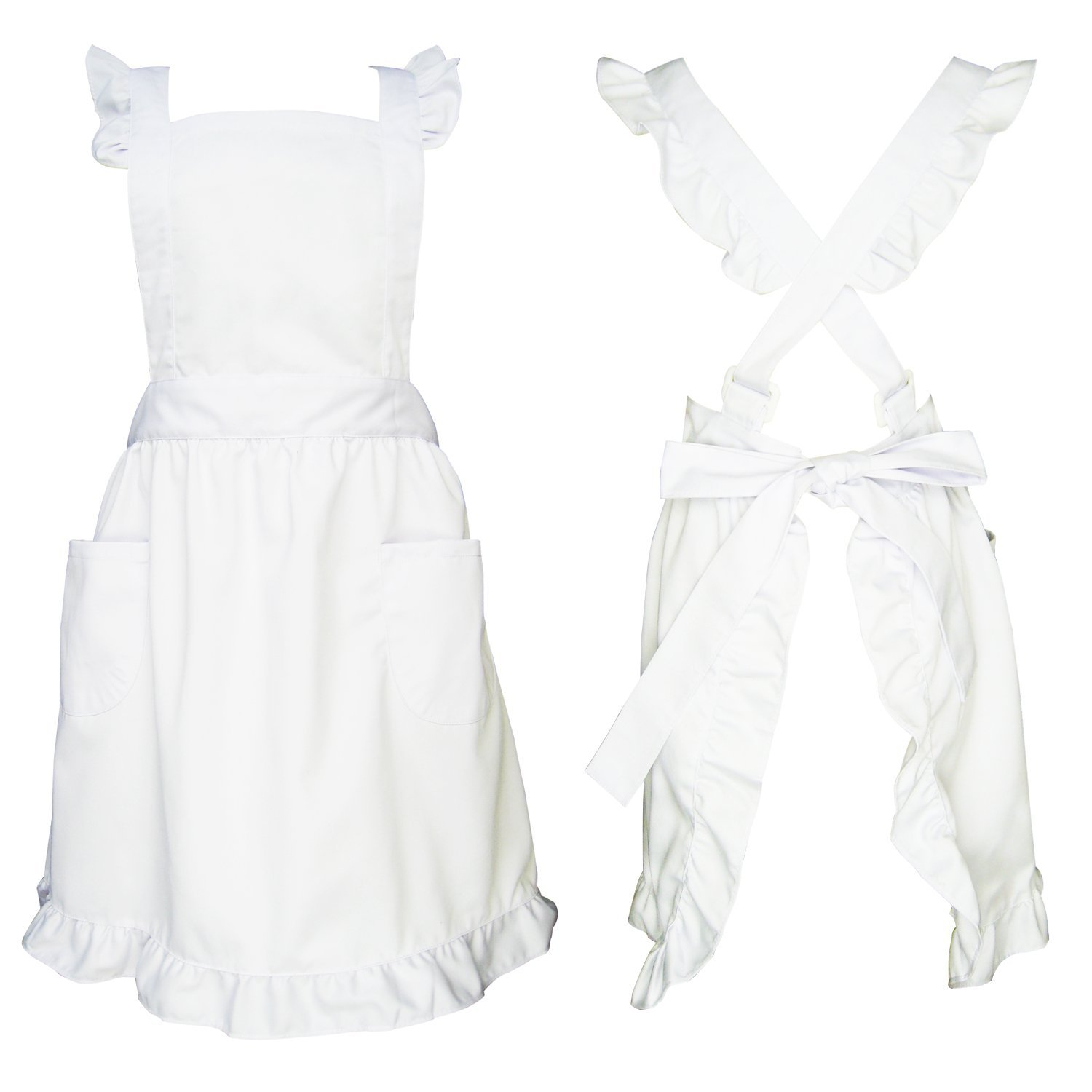 Premium Maid Costume with Ruffle Outline, Retro Straps Adjustable Fit Frilly Bib Apron With Two Pockets For Women Cosplay Cooking Baking Cleaning,One Size Fits All(White)