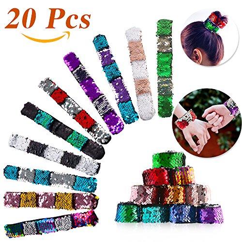 JOY4U 20Pcs Slap Bracelets Mermaid Sequin Bracelets Reversib