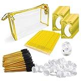 4x100 Packs Eyelash Extension Kits Gold- Under Eye Pads & Eyelash Mascara Wands Applicator Makeup Brush & Glue Rings Holder Nail Art Tattoo & Micro Applicators Brush Beauty Tools (Color: gold)