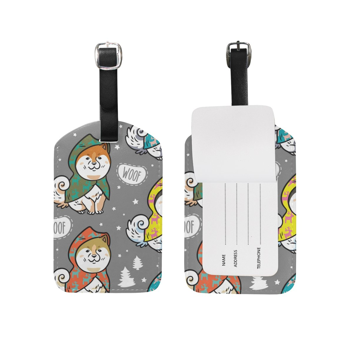 My Daily Husky Puppies Colorful Raincoats Luggage Tags PU Leather Bag Suitcases Baggage Label 2 Pieces Set