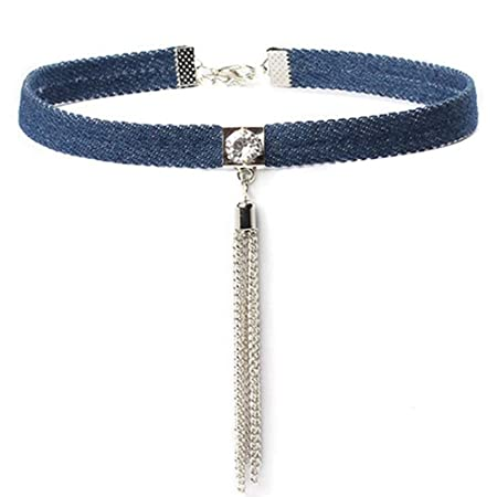 144cba90fdf02e Cdet Choker Women Jeans Silver Tassel Pendant Vintage Cosplay Collar Chain  Necklace Love Gift: Amazon.co.uk: Kitchen & Home