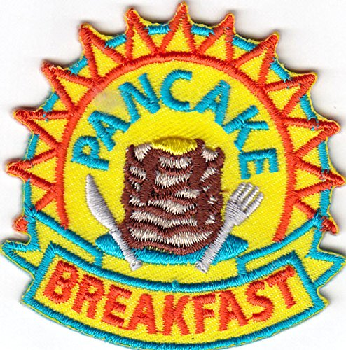 """PANCAKE BREAKFAST"" Iron On Patch Cooking Breakfast Fund Raising Unbranded"