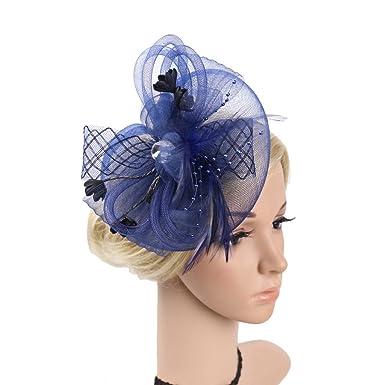 Tocados para el pelo con diademas de mujer novia para fiesta boda con pluma  malla jpg 481170e6f04