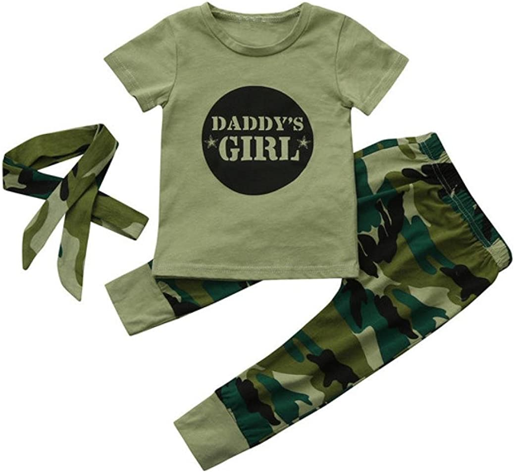 Cute Kid Newborn Toddler Baby Girls Letter Tops Camouflage Pants Outfits Set Clothes Fashion Clothing Printing Letter Daddys Voberry for 0-24 Months Kids