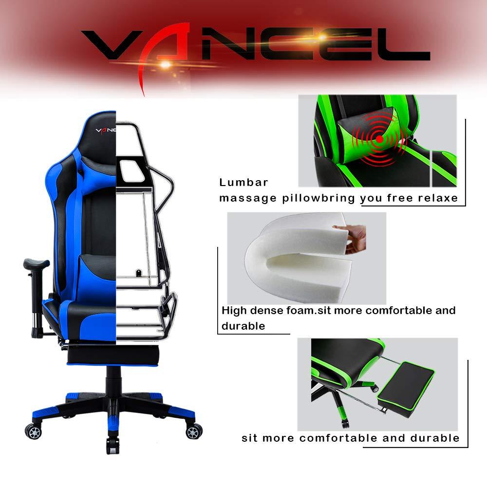 EAVANCEL Gaming Silla Oficina Reclinable de Ergonómico con Masaje Lumbar, Acolchada Reposapiés Plegable Reposabrazos Reposacabezas para Gamer (Azul)