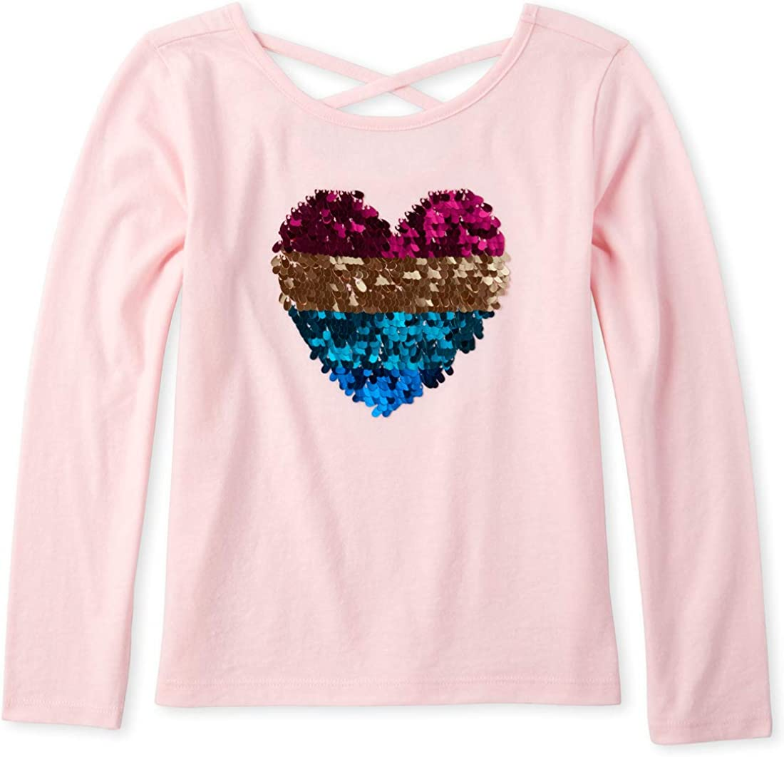 The Childrens Place Girls Big Long Sleeve Flip Sequin X-Back T-Shirt