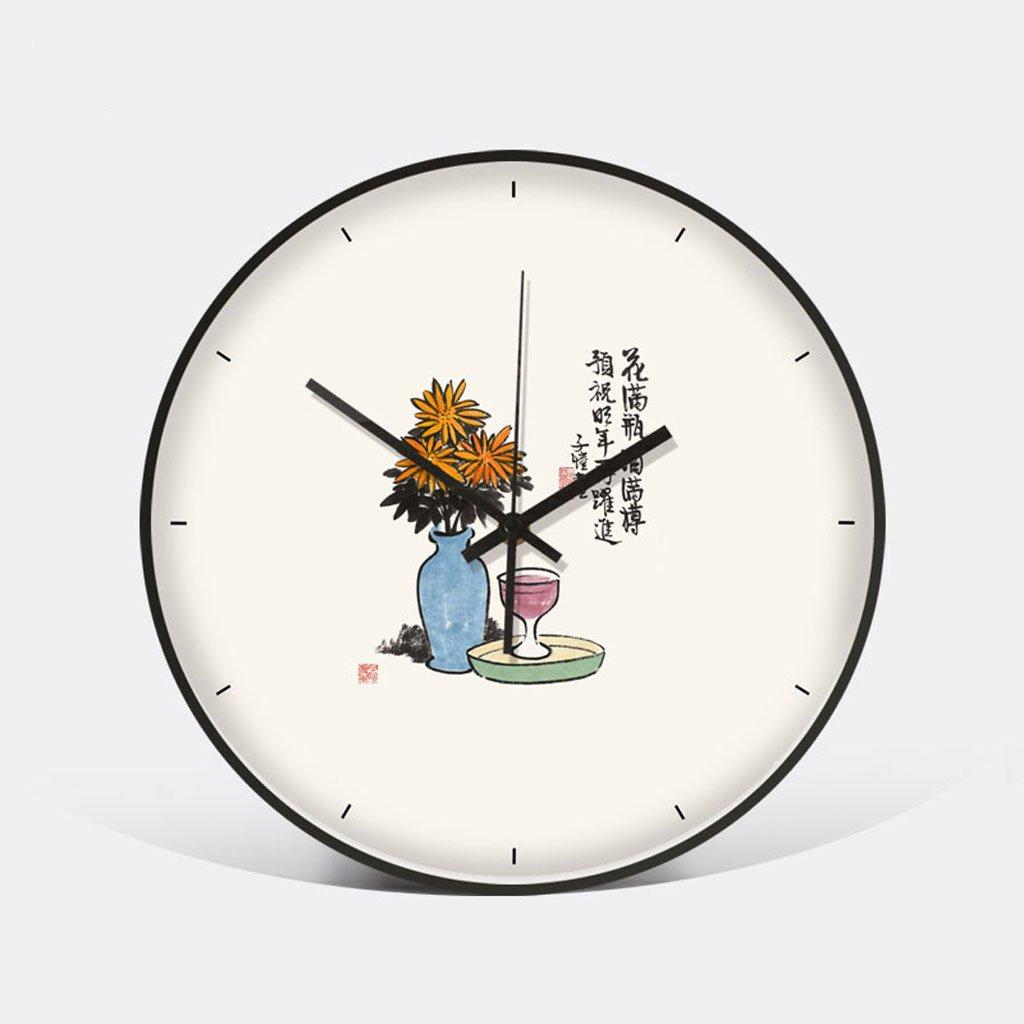 中国スタイルの壁時計新しい中国スタイルのリビングルームの寝室の人格のポケットの腕時計静かな白 (Color : Full bottle) B07D5QRM8VFull bottle