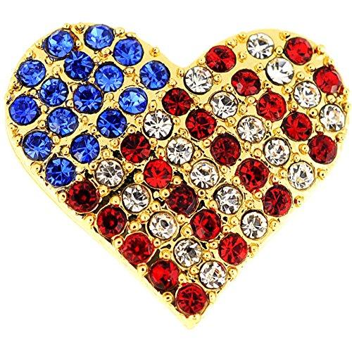 - Fantasyard Golden American Flag Heart Patriotic Crystal Pin Brooch