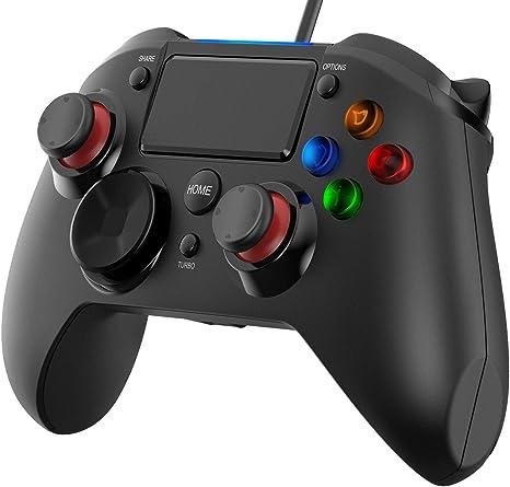 PICTEK - Mando para PS4 con micrófono y turbo de doble vibración para PS4 / PS3 / PC (Windows XP / 7 / 8 / 8.1 / 10) / Android / Steam, color negro: Amazon.es: Informática