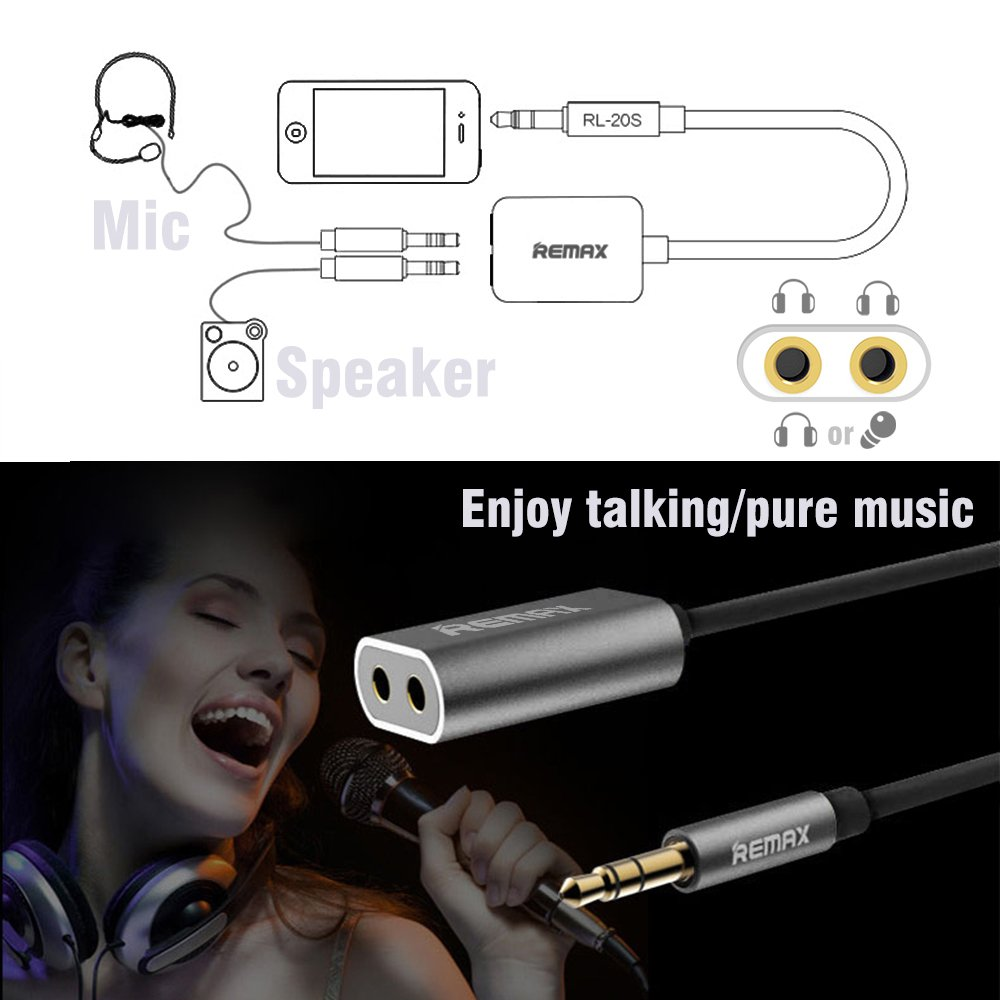 Audio Cable Aux Splitter Auxiliary 35mm Remax Rl 20s Sharing Multi Port Stereo Speaker And Headphone