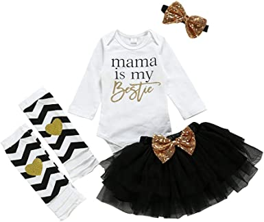 for 1t 2t Toddler Kids Newborn Baby Girls Clothes Set Short Sleeve Romper and Sequins Bow-Knot Skirt Outfits