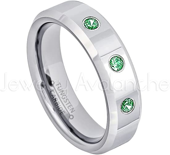 6MM Polished Pipe Cut Comfort Fit Tungsten Carbide Wedding Band Jewelry Avalanche 0.21ctw Tsavorite Garnet /& Diamond 3-Stone Tungsten Ring