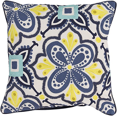 Surya Kate Spain KS014-2020D Down Fill Pillow, 20 by 20-Inch, Cobalt by Surya