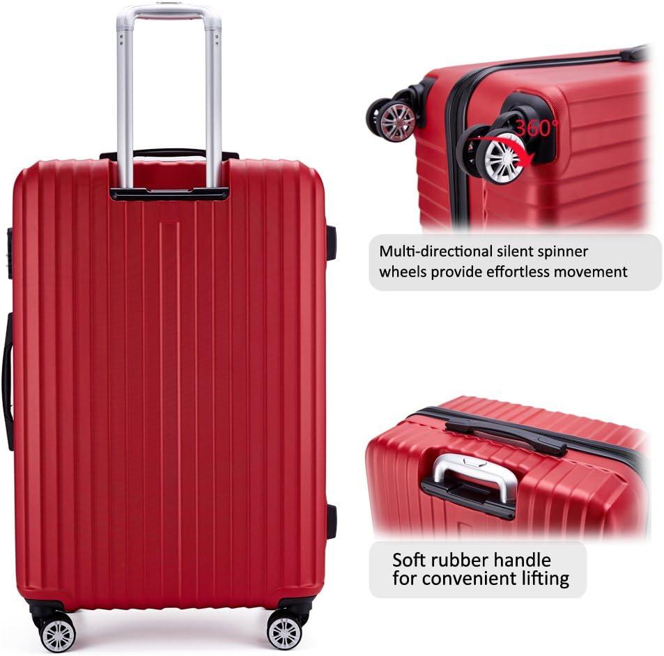FOCHIER Lot de 3 bagages l/égers /à coque rigide avec roues pivotantes TSA /à 360 /° 50,8 cm 61 cm 71 cm Bleu #