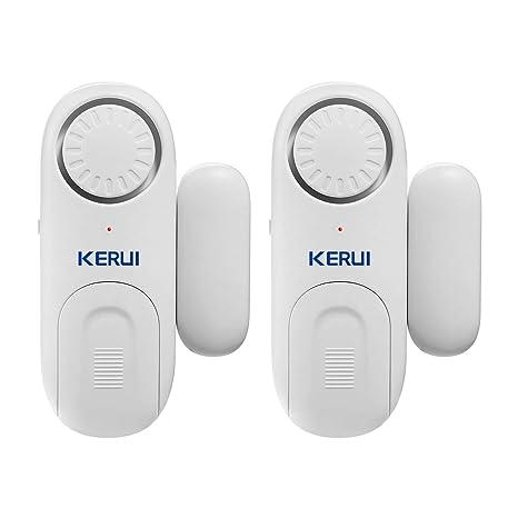 KERUI D1 Sensor de Alarma de Puerta y Ventana para el Hogar con Alarma Antirrobo, Cambio de Timbre, 120 dB, 4 Modos Inteligentes para el Casa, Cuarto ...