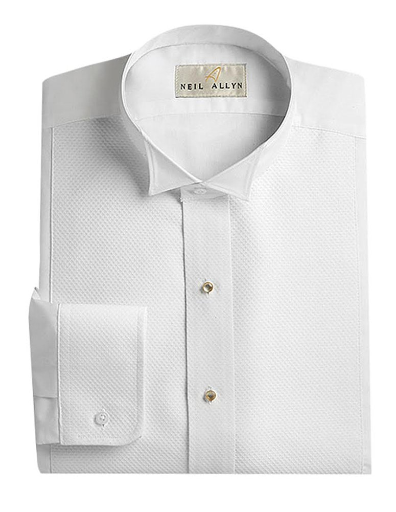 Neil Allyn Men's Pique Wing Collar Tuxedo Shirt, 17/17.5 X 34-35