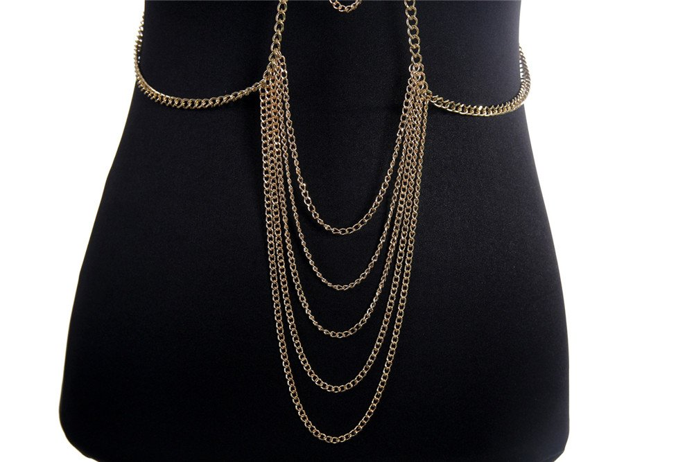 SIYWINA Multi-tassel Necklace Body Chain Gold Lace Chain Body Chain Bikini Summer by SIYWINA (Image #3)