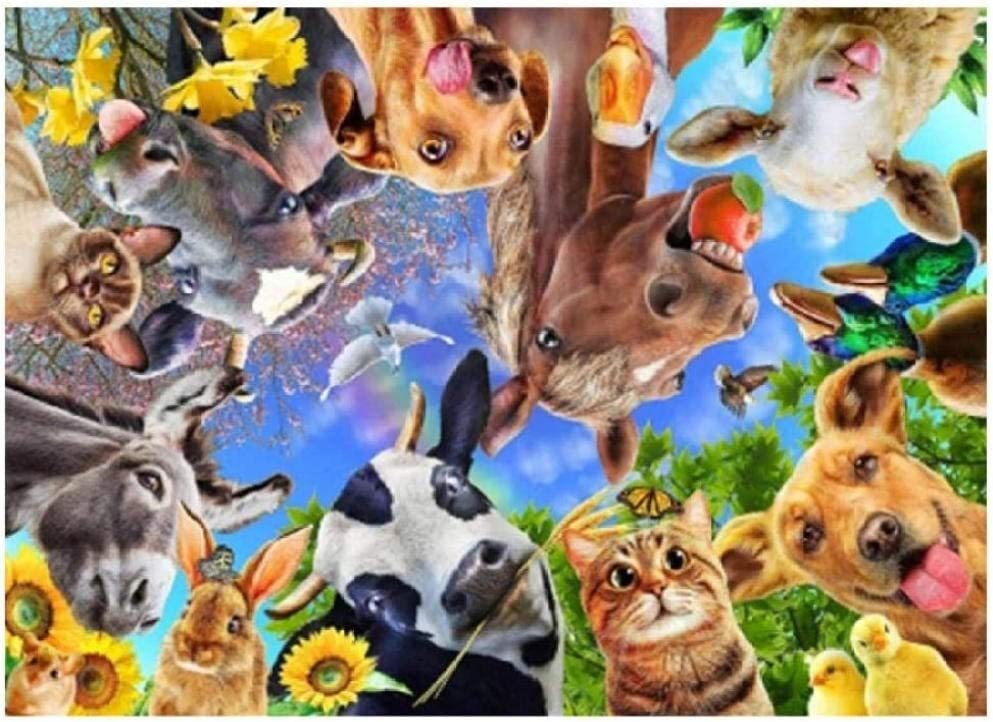 Adult Puzzle 1000 Pieces Farm Animals Selfie Fun Game DIY Home Decoration