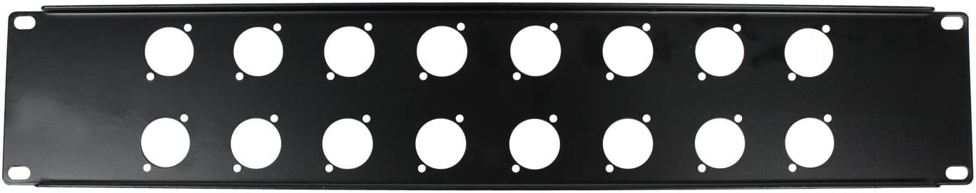 OSP Cases | Metal Rack Panel | 2-Space Blank | 16 D-Series Punch-Out's