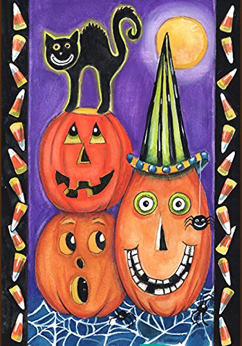 Toland Home Garden Pumpkin Party 12.5 x 18 Inch Decorative Colorful Halloween Jack-o-Lantern Black Cat Garden Flag