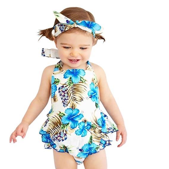 ASHOP Bebé Monos, Mono de Volantes de Estampado Floral recién Nacido ...