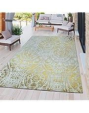 Modern Outdoor Vloerkleed Weerbestendig voor binnen en buiten Barok Design In Geel, Größe:120x170 cm