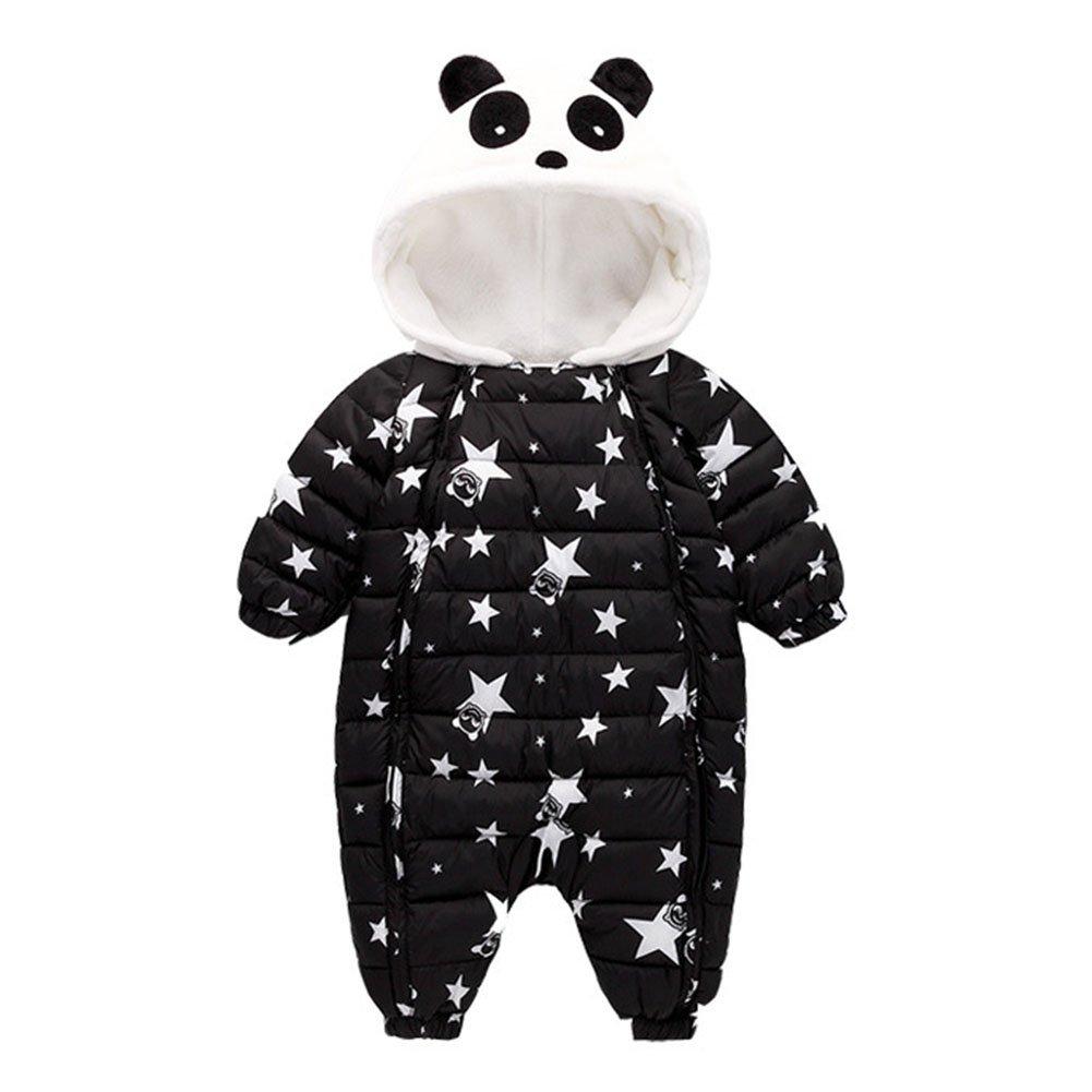 Bebé Niños Niñas de Invierno Ropa - Mxssi Mameluco de animales Baby Romper de una pieza recién nacido cálidos Panda de una pieza Trajes de negro blanco 80cm 90cm 100cm Mxssi Network technology Ltd