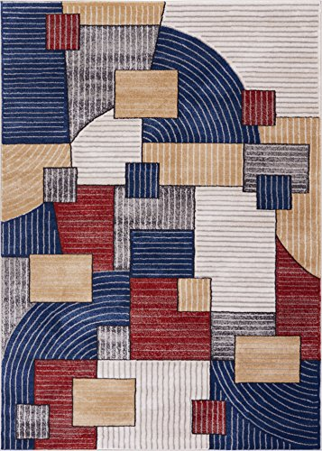 Adrift on Abstract Multicolor Area Rug 4 x 6 (3'11 x 5'3) Modern Geometric Squares and Stripes Art Deco - Multi Stripe Square Rug