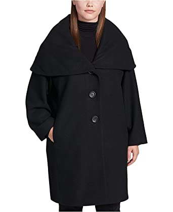 0b54dfd6f30 DKNY Women s Plus Size Shawl-Collar Hooded Walker Coat Black 0X at Amazon  Women s Clothing store