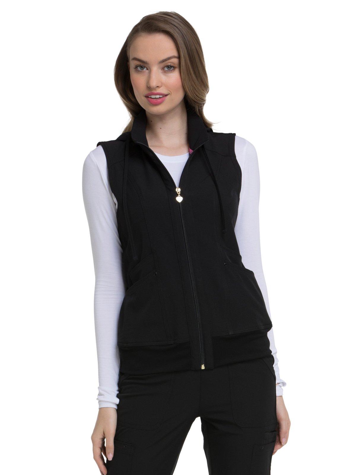 HeartSoul Break On Through Women's in-Vested Love Solid Scrub Vest X-Large Black