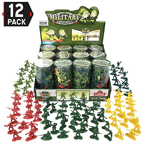 Liberty Imports [Value Bundle 12 Tubes of Action Figures Army Men Soldiers in Mini Buckets Bulk Party Favors Supplies