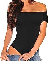 Shawhuwa Womens Sexy Off Shoulder Leotard Bodysuit Clubwear Romper