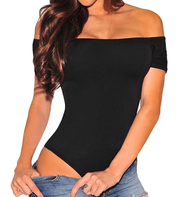 2fc3f15d2b Shawhuwa Womens Sexy Off Shoulder Leotard Bodysuit Clubwear Romper (X-Small