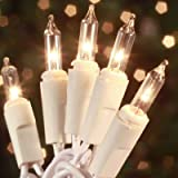 Christmas Lights 100 Count Mini Clear Lights 32 ft White Wire Christmas Tree String Lights Set for Outdoor Indoor Christmas D