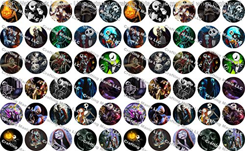60 Precut Bottle Cap Images Nightmare Before Christmas Set 2