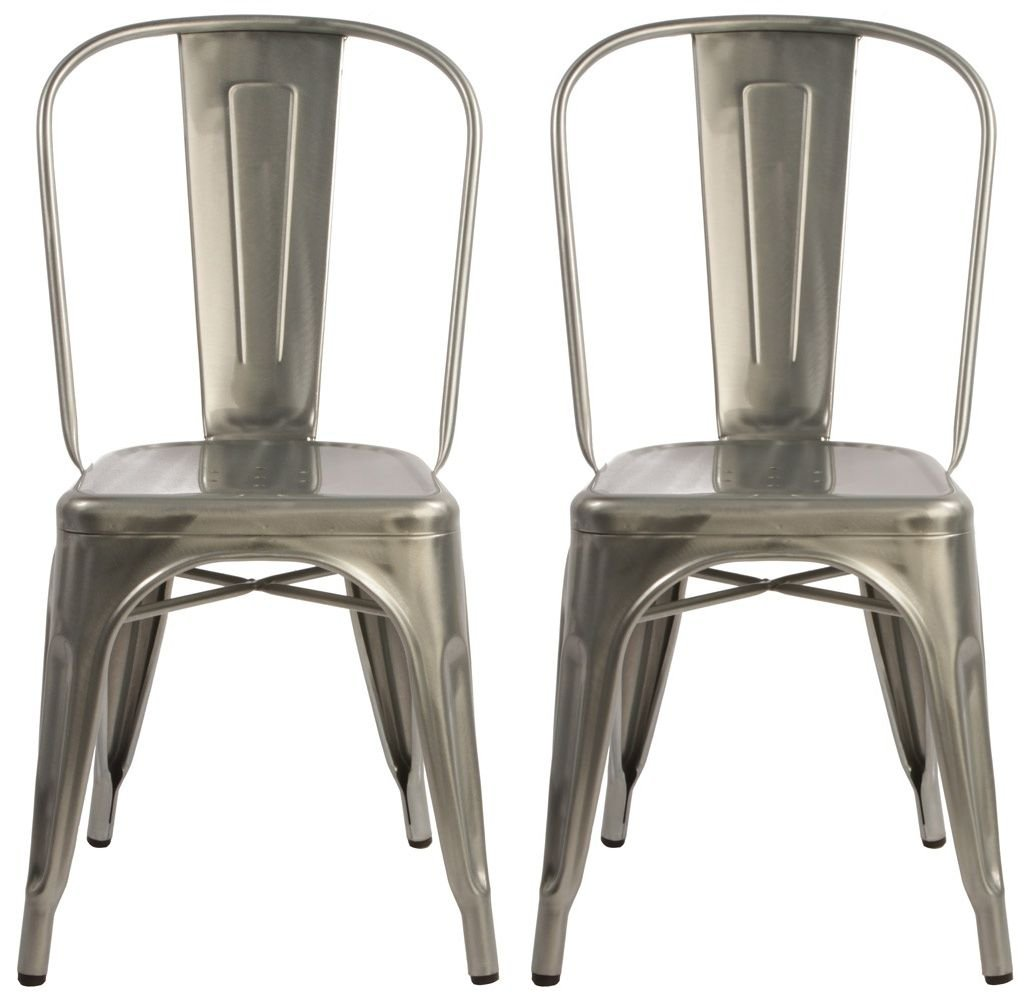 Meubles House S2-MC-001T Stackable Industrial Chic Xavier Pauchard Tolix Style Dining Chair Side Chair Metal-Galvanized (Set of Two)