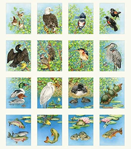 Freshwater Wildlife Panel with Blocks 4 X 4.75 Inch Elizabeths Studio Cotton Fabric 4328 Cream