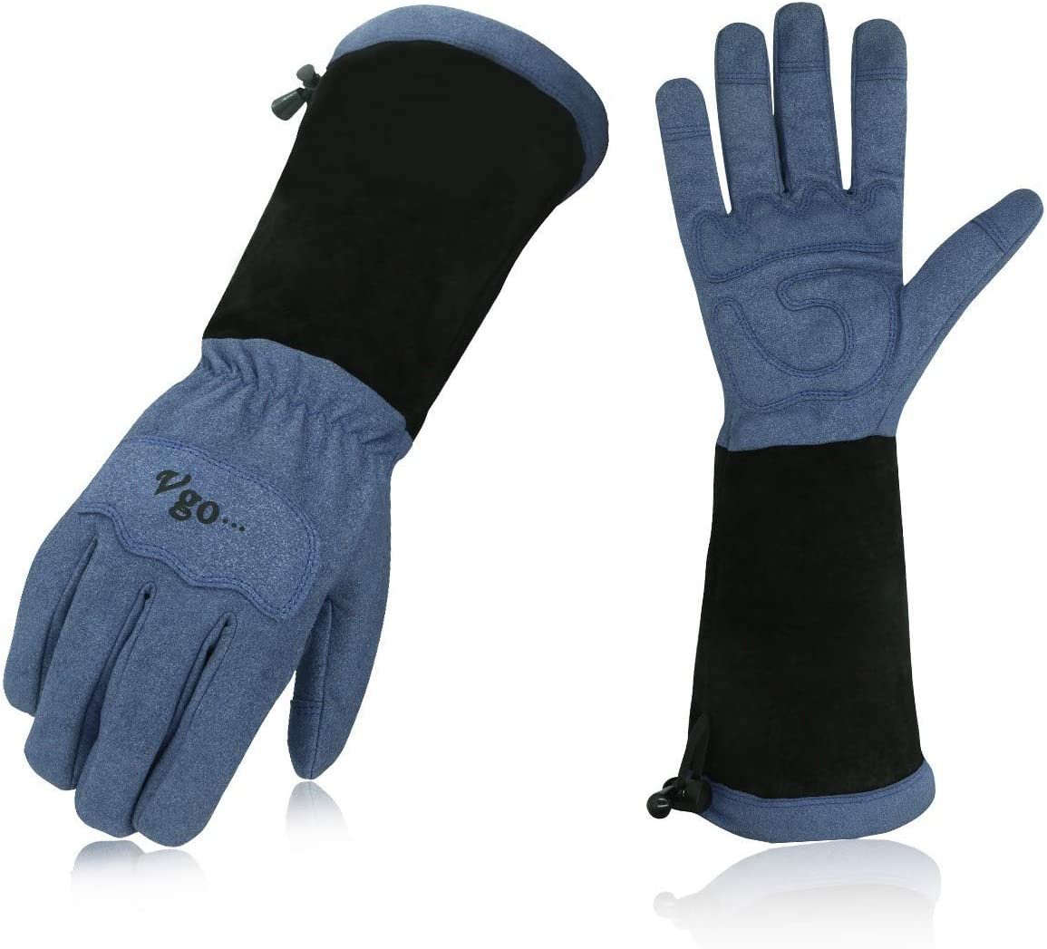 Vgo Men's Synthetic Leather Palm with Long Pig Split Leather Cuff Rose Garden Gloves (Size XL, Blue,SL6592M)