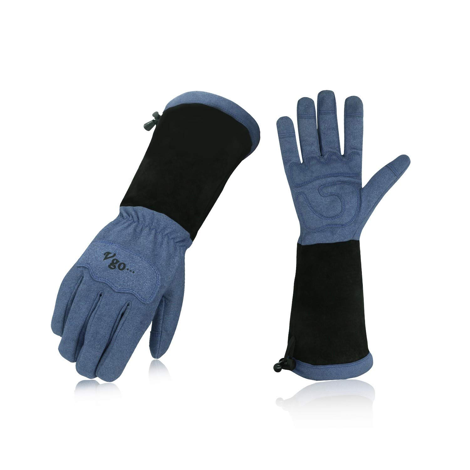 Vgo Men's Synthetic Leather Palm with Long Pig Split Leather Cuff Rose Garden Gloves (1Pair,Size XL,Blue,SL6592M)