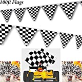 Adorox 100ft Checkered Black and White Flags Racing Kids Party Banner