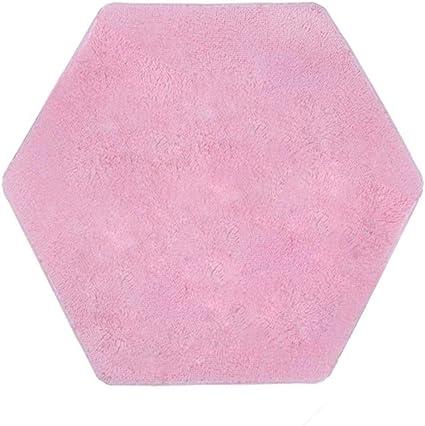 Hexagonal Soft Plush Kids Tent Carpet Rug Pad Indoor Bedroom Cushion Pink